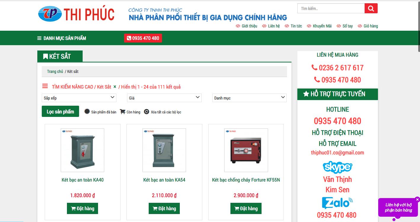 Kết quả hình ảnh cho website bán két sắt