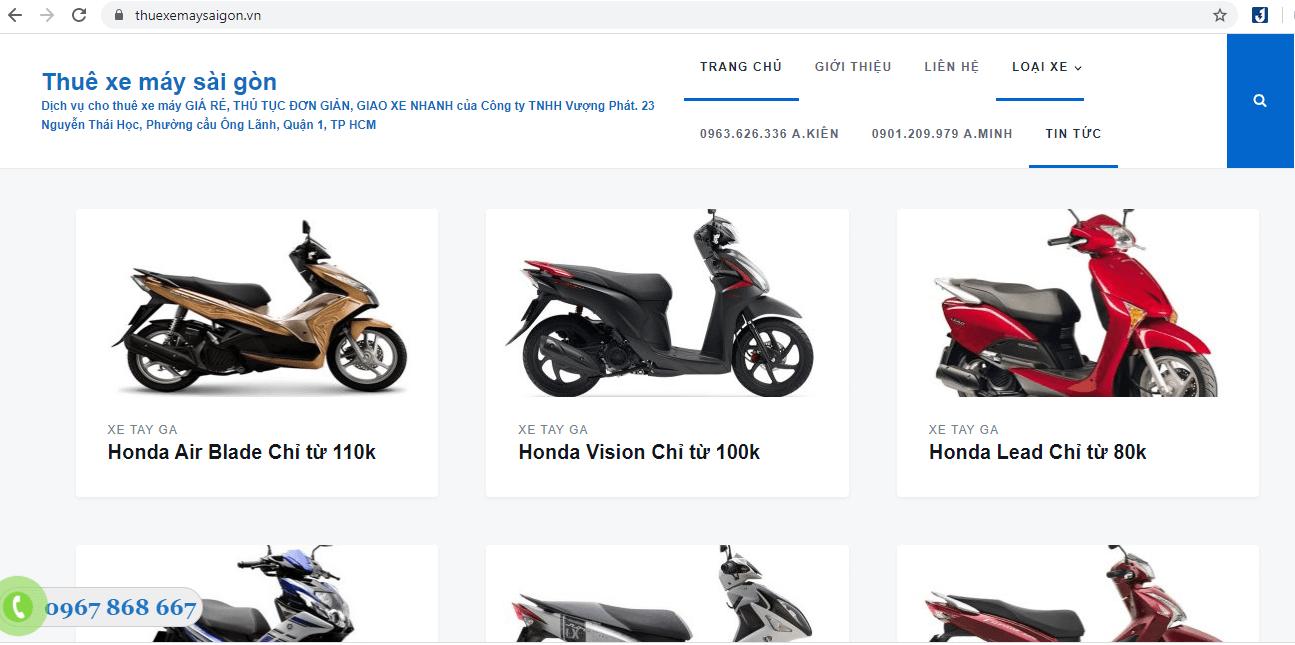 Địa Chỉ Cho Thuê Xe Máy Sài Gòn Uy Tín