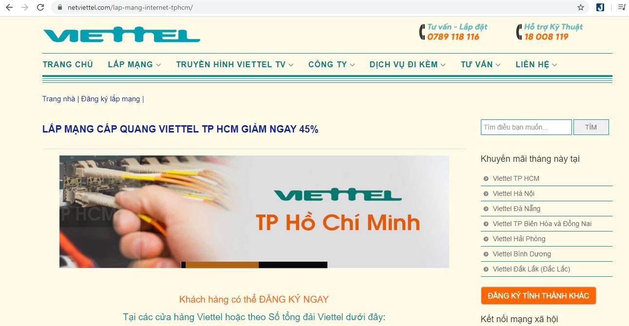 dịch vụ lắp mạng Viettel Sài Gòn