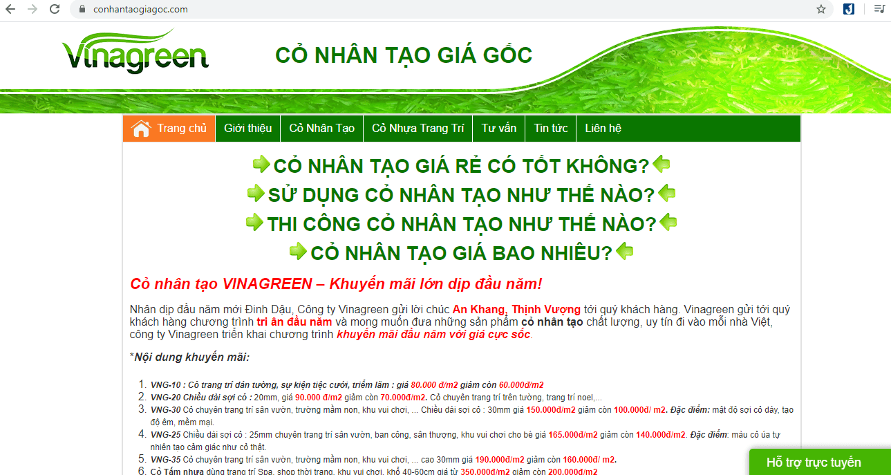 công ty cung cấp cỏ nhân tạo Sài Gòn