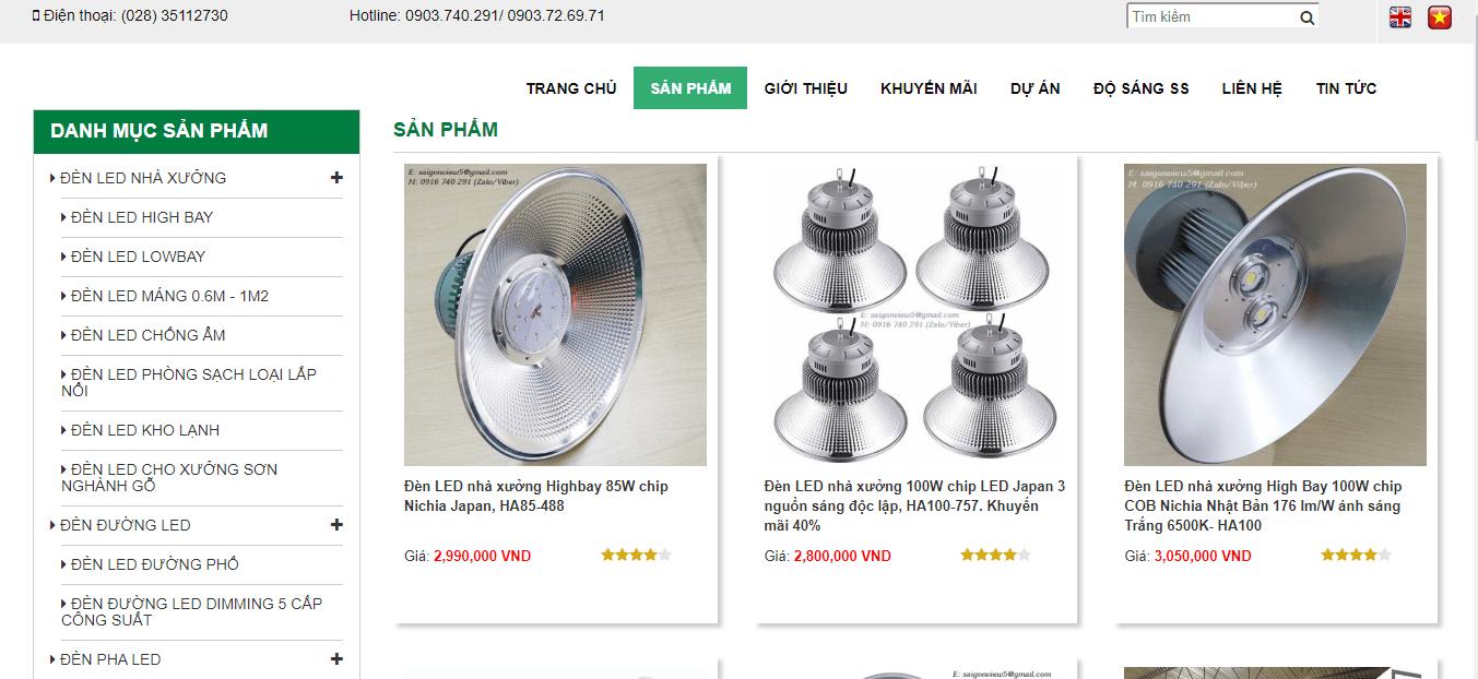 cửa hàng bán đèn tại tp hcm
