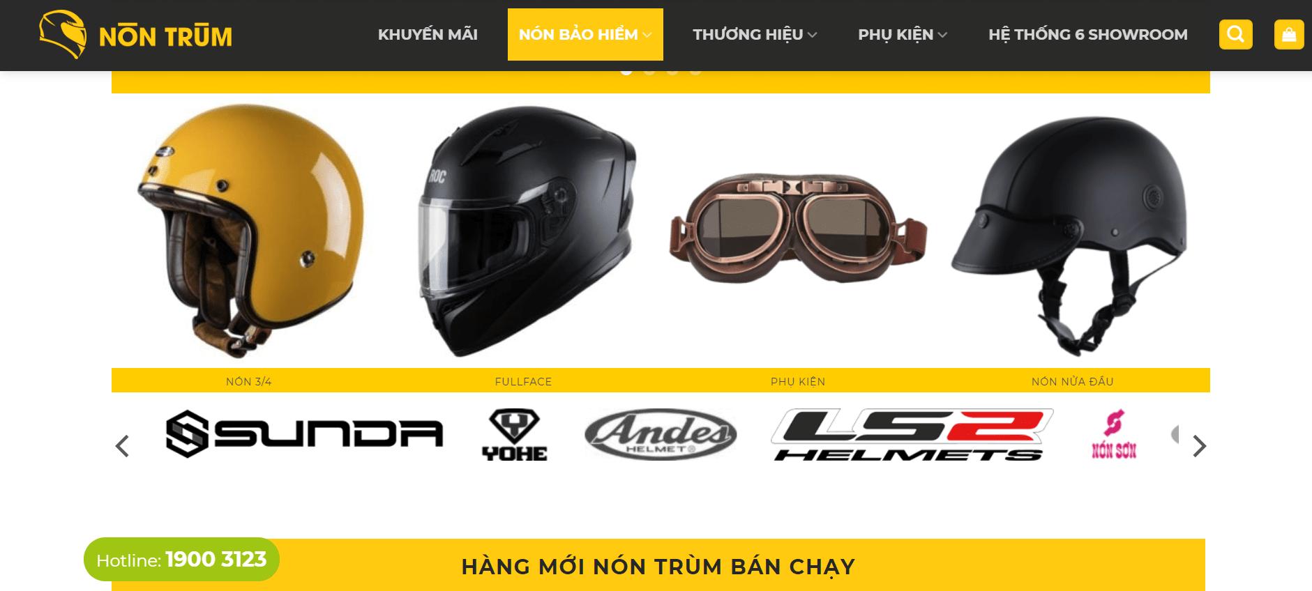 cửa hàng bán mũ bảo hiểm tại Sài Gòn
