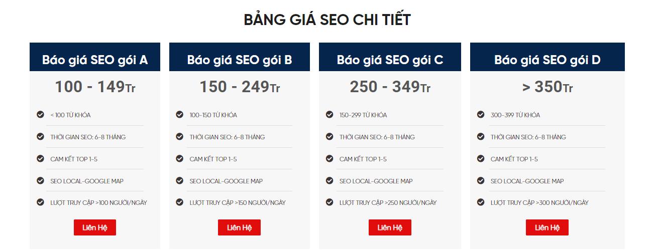 Báo giá dịch vụ SEO - SEODO