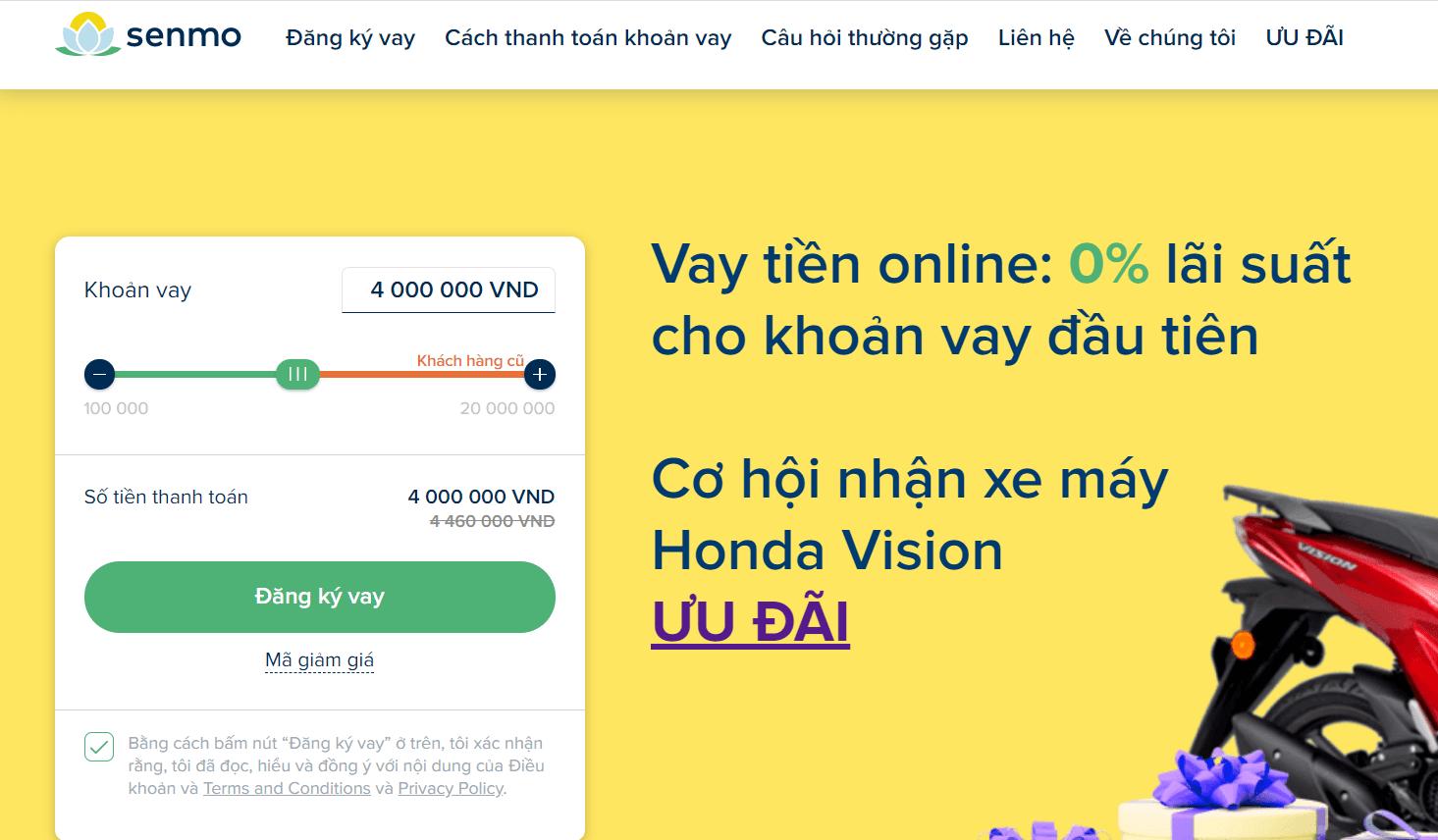vay tiền qua web